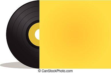 disco, vettore, coperchio, giallo