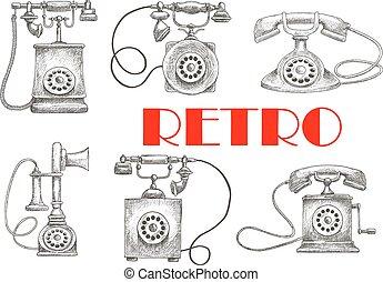 disco, vindima, rotativo, símbolos, telefones, sketched