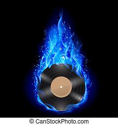 disco vinil, em, azul, fire.