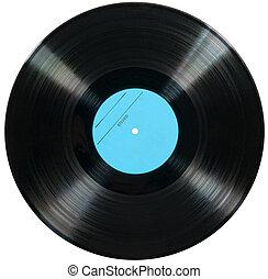 disco vinil, isolado, branco, fundo