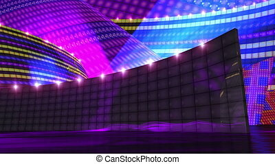 dj disco stage virtual set animation with alpha for key your own footage for use of music video production ,editing, motion graphic clips, virtual background, mtv ,music channel, dancing theme ,etc .