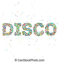 disco word consisting of colored particles