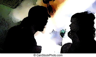 Young people dancing in a disco. Composite in cartoon style.