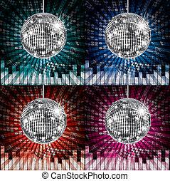 disco zündet, kugel, bunte, party