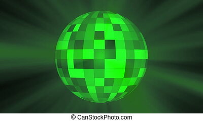discoball green - discoball in green light rays.