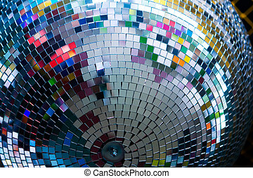 discoball in night club. Closeup photo, good for background