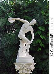 Discobolus sculpture - The sculpture of discobolus in park...