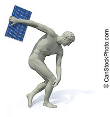 discobolus with photovoltaic panel launching, 3d...
