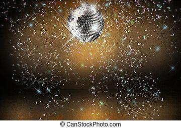 discokugel, mit, lichter, und, konfetti, party, hintergrund