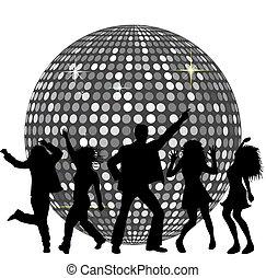 discokugel, und, tanzende menschen