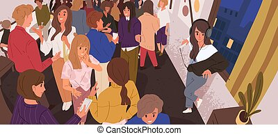 Discomfort in crowd flat vector illustration. Lonely introvert girl among people. Mental health, psychology, psychological problems. Communication difficulties idea. Social anxiety