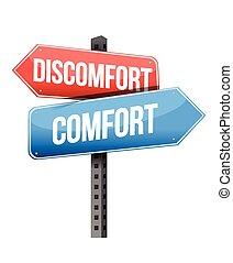 discomfort versus comfort road sign illustration design over a white background