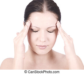 discomfort - young beauty woman with headache holding hands...