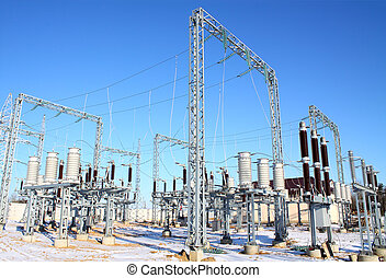 High-voltage substation being built power plants in winter