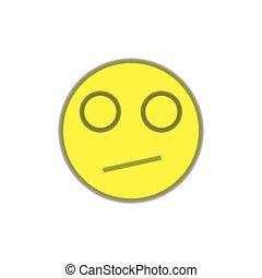 discontent., twarz, tło., uśmiech, biały, wyrażenie