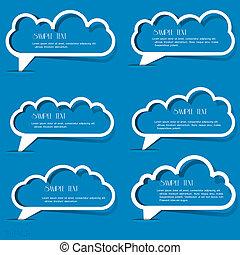 discorso, bolle, carta, nubi, contorno