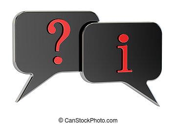 discorso, bolle, domanda, informazioni, concetto, 3d, interpretazione, isolato, bianco, fondo