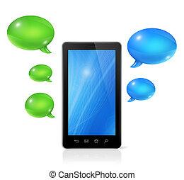 discorso, bolle, e, telefono mobile