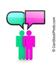 discorso, bubble-communication, 3d, concept., isolato, bianco