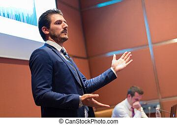 discorso, conference., altoparlante, affari, dare