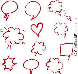 discorso, disegnare, bolla, rosso, mano