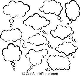 discorso, nuvola, bubbles., comico