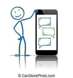 discorso, stickman, smartphone, messaggero, bolle