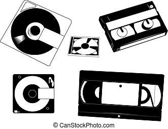 discos, cassettes