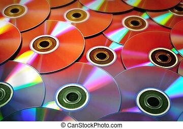 discos compactos, algunos, plano de fondo, colorido