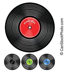 discos, conjunto, vinilo, audio