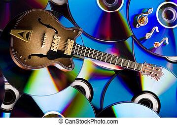 discos, y, guitarra, brillante, colorido, vívido, tema