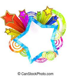 discoteca, bandeira, com, bonito, colorido, estrelas listras