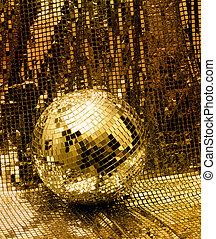 discoteca, dourado, bola, espelho