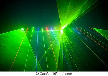 discoteca, e, laser, mostrar