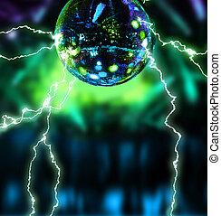 discoteca, eletrificando, bola, espelho
