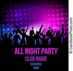 discoteca, festa, manifesto, fondo