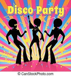 discoteca, festa., vettore, illustration.