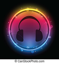 discoteca, fones, com, néon, arco íris, círculo
