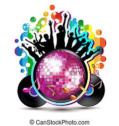 discoteca, globo, con, silhouette