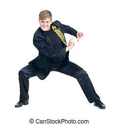 discoteca, mostrando, dançarino, algum, movimentos