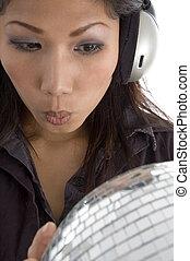 discoteca, mulher, tendo, bola, espelho