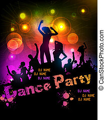discoteca, partido, cartaz
