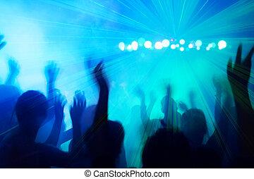 discoteca, pessoas, beat., dançar