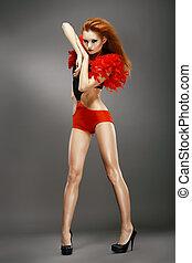 discoteca, showgirl, asiático, shapely, ruivo, dança, entertainment., club., noturna