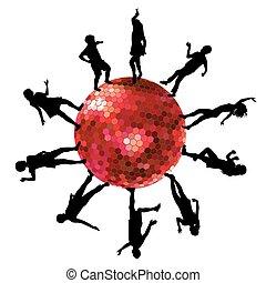 discoteca, silhuetas, bola, pessoas, dançar