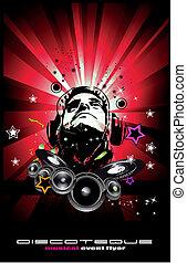 discoteque, 抽象的, 音楽, 背景, フライヤ