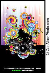 discoteque, abstrakt, flieger, dj, silhouette.