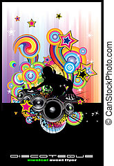 discoteque, abstrakt, flygare, dj, silhouette.
