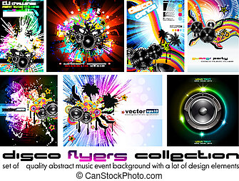 Discoteque Flyer - Set 6 - nine Abstract Music Background...