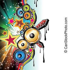 discoteque, musique, fond, prospectus
